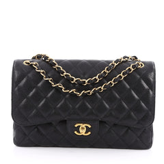 Chanel Classic Double Flap Bag Quilted Caviar Jumbo Black 1946601