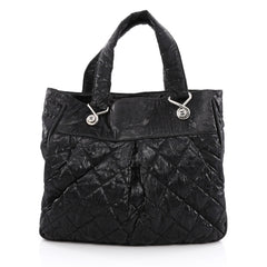 Chanel Le Marais Tote Quilted Coated Canvas Large Black 1948101