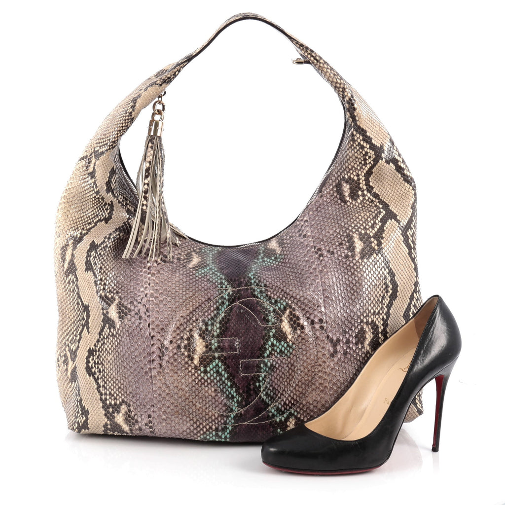 467d0421ee54 Buy Gucci Soho Hobo Python Large Purple 1951801 – Rebag