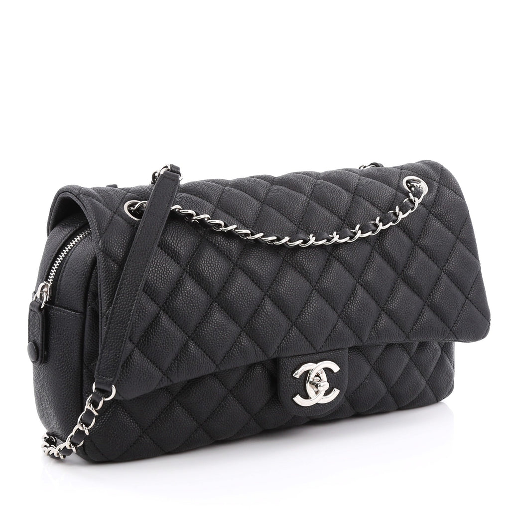 ef2fe9bfa35c Buy Chanel Easy Flap Bag Quilted Caviar Jumbo Black 1953401 – Rebag