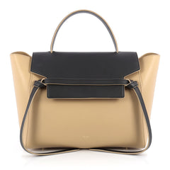 Celine Bicolor Belt Bag Leather Mini Black