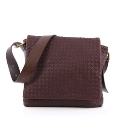 Bottega Veneta Square Flap Messenger Bag Intrecciato Nappa Medium Red