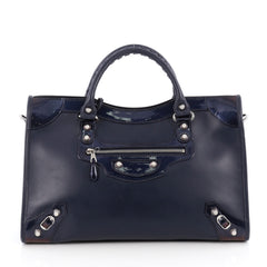 Balenciaga Holiday City Giant Studs Handbag Matte Calfskin Medium Blue