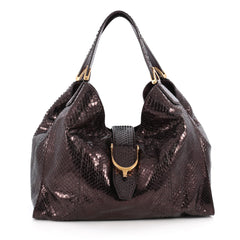 Gucci Soft Stirrup Tote Python Medium Purple 1957411