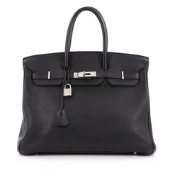 Hermes Birkin Handbag Black Togo with Palladium Hardware 35 Black 1957901