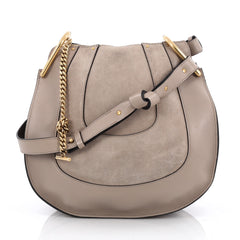 Chloe Hayley Hobo Leather and Suede Small Neutral 1958501