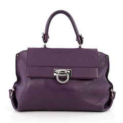 Salvatore Ferragamo Sofia Satchel Pebbled Leather Medium Purple 1960801