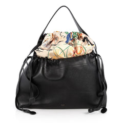 Celine Foulard Drawstring Handbag Leather Black 1966503
