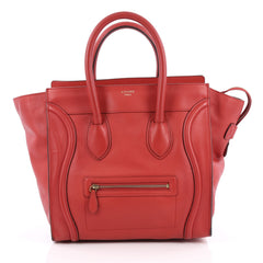 Celine Luggage Handbag Grainy Leather Mini Red 1966901