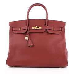 Hermes Birkin Handbag Red Buffalo with Gold Hardware 40 Red 1967101