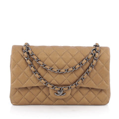 Chanel Classic Double Flap Bag Quilted Caviar Medium Gold