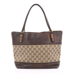Gucci Laidback Crafty Tote GG Canvas and Leather Medium Brown