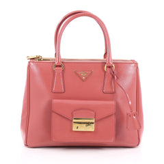 Prada Front Pocket Double Zip Lux Tote Vernice Saffiano Pink 1971001