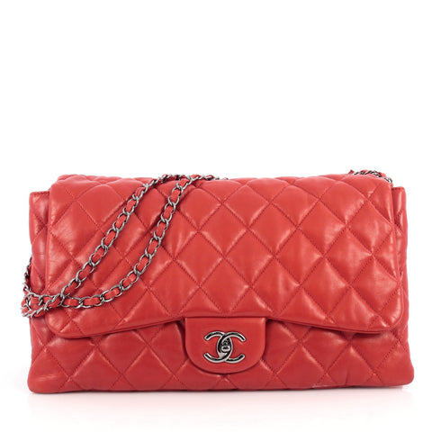 e0140ca51a69 Buy Chanel 3 Bag NM Quilted Lambskin Jumbo Red 1971901 – Rebag