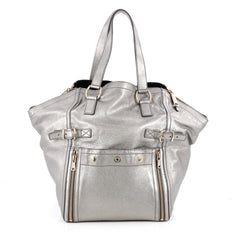 Saint Laurent Downtown Tote Leather Medium Silver 1975401