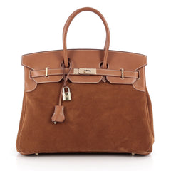 Hermes Birkin Handbag Brown Grizzly with Barenia with 1982701