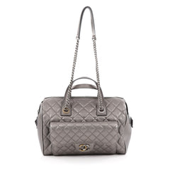 Chanel Two-Tone Front Pocket Bowling Bag Quilted Metallic Calfskin Medium Silver