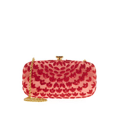 Oscar de la Renta Box Clutch Embellished Satin -