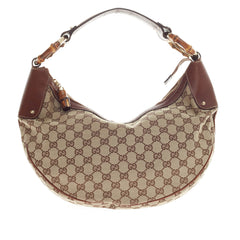 Gucci Bamboo Ring Half Moon Hobo GG Canvas Medium