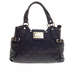Versace Belted Satchel Quilted Leather -