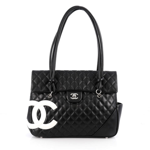 92f34eee42d7cf Buy Chanel Cambon Flap Tote Quilted Leather Large Black 2001104 – Rebag