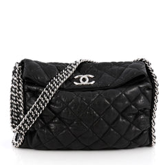 Chanel Chain Around Hobo Quilted Washed Lambskin Black