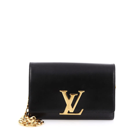fb838ad34969 Buy Louis Vuitton Chain Louise Clutch Leather GM Black 2006007 – Rebag