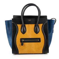 Celine Tricolor Luggage Handbag Pony Hair and Leather Yellow 2007101