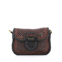 Prada Push Lock Flap Shoulder Bag Madras Woven Leather Small Brown 2007301