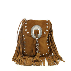 Saint Laurent Anita Flat Fringe Crossbody Bag Suede Brown 2010402