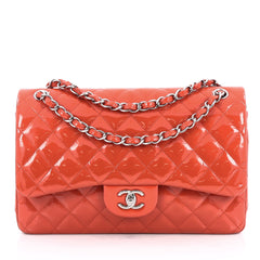 Chanel Classic Double Flap Bag Quilted Patent Jumbo Red 2010502