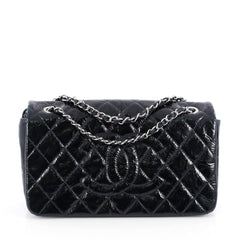 Chanel Chain CC Full Flap Bag Quilted Patent Medium Blue