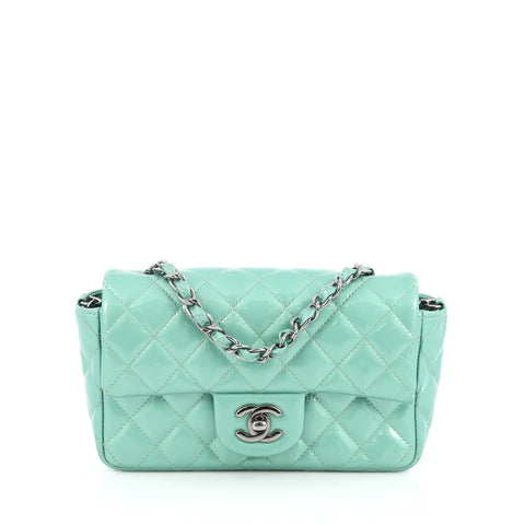 0c1e521fcd9c Buy Chanel Classic Single Flap Bag Quilted Patent Mini Green 2014201 – Rebag