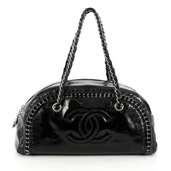 Chanel Luxe Ligne Bowler Bag Patent Medium Black