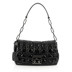 Christian Dior New Lock Flap Bag Cannage Quilt Patent Black 2014601