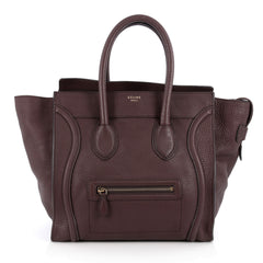Celine Luggage Handbag Grainy Leather Mini Brown 2014602