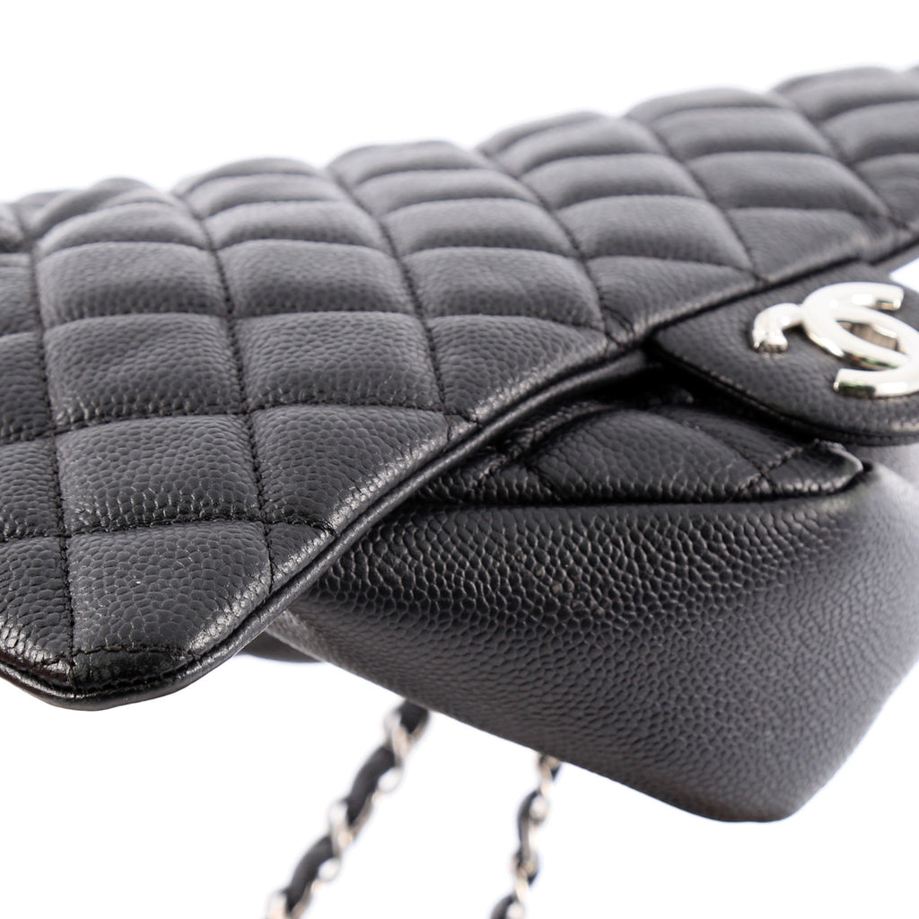 022d5fa19d50 Buy Chanel Easy Flap Bag Quilted Caviar Jumbo Black 2015902 – Rebag