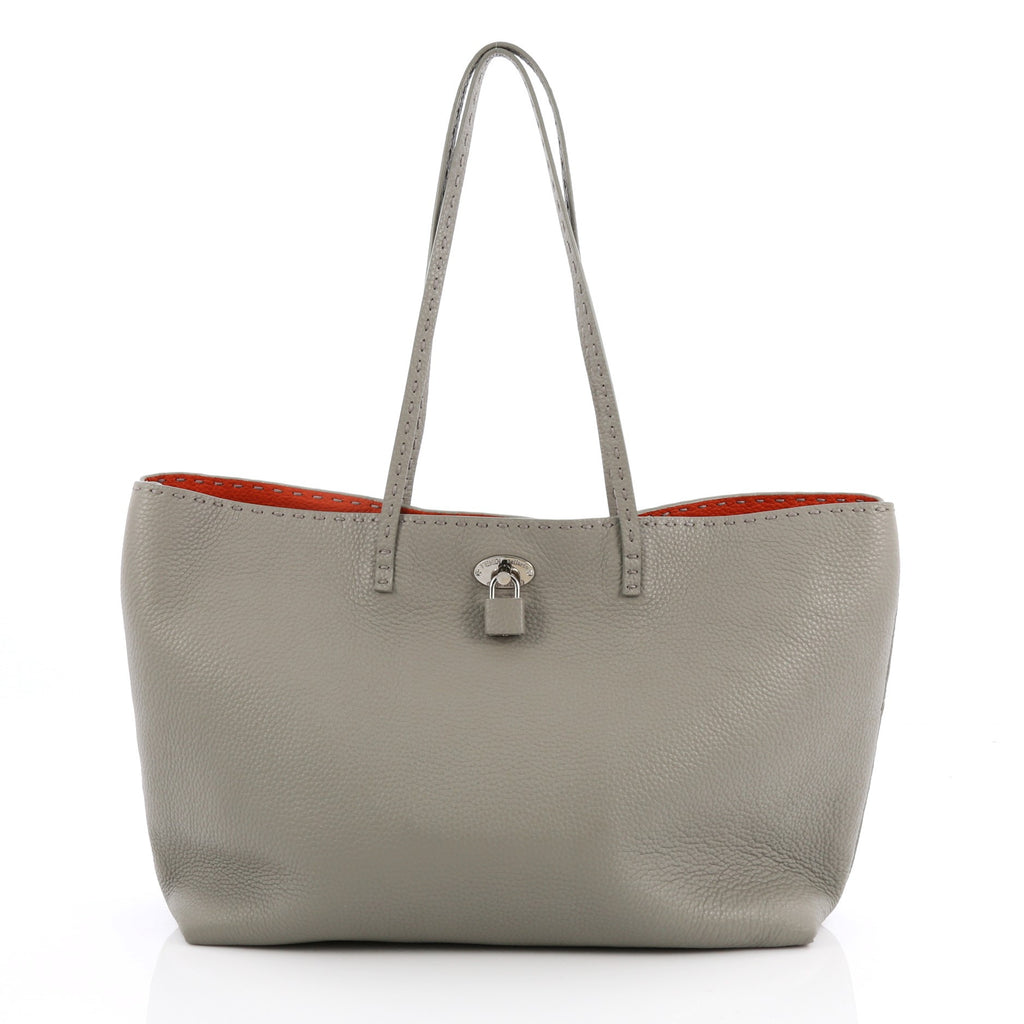 87c46c14b3ff Buy Fendi Carla Tote Selleria Leather Large Gray 2016701 – Rebag