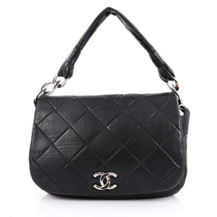Chanel Flap Messenger Bag Quilted Calfskin Medium Black
