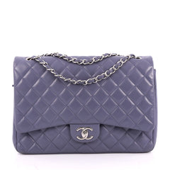 Chanel Classic Double Flap Bag Quilted Lambskin Maxi Purple
