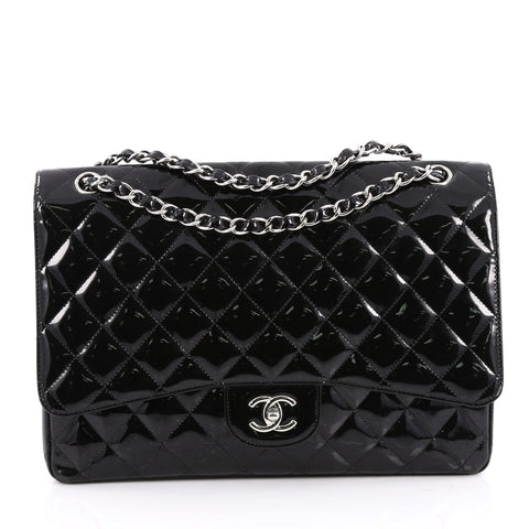 959d96edd2a8 Buy Chanel Classic Single Flap Bag Quilted Patent Maxi Black 2018305 – Rebag