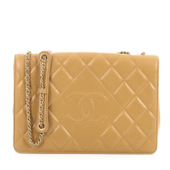 Chanel Diamond CC Flap Bag Quilted Lambskin Medium Brown