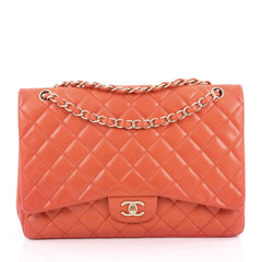Chanel Classic Single Flap Bag Quilted Lambskin Maxi Red 2019301