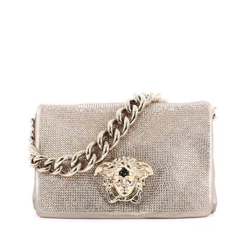 fa526e8cfc Buy Versace Palazzo Flap Bag Embellished Leather Small Gold 2020702 – Rebag