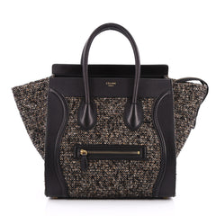 Celine Luggage Handbag Tweed Mini Black 2020704