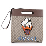 Gucci Donald Duck Soft Tote Embroidered GG Coated Canvas Brown 2025604