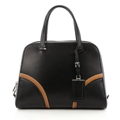 Prada Convertible Zip Around Satchel Vachetta Leather Medium Black 2028702