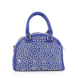 Christian Louboutin Eyelet Panettone Convertible Satchel Leather Small Blue 2031501