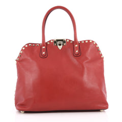 Valentino Rockstud Convertible Dome Satchel Leather Red 2035701