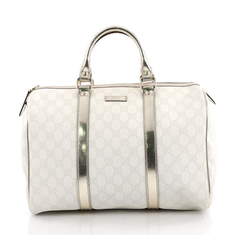 6950f1c201e0d5 Buy Gucci Joy Boston Bag GG Coated Canvas Medium White 2038002 – Rebag